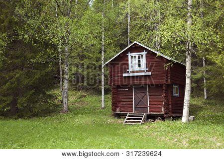 JÄmtland, Sweden On June 04. View Of A Timber, Log Cabin, Lodge On June 04, 2019 In Jämtland, Sweden