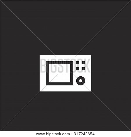 Microwave Icon. Microwave Icon Vector Flat Illustration For Graphic And Web Design Isolated On Black
