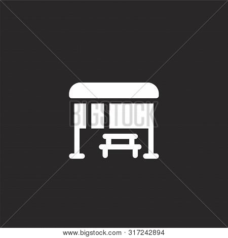 Bus Stop Icon. Bus Stop Icon Vector Flat Illustration For Graphic And Web Design Isolated On Black B