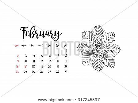 Monthly Desk Calendar Horizontal Template 2020 For Month February. Week Starts Sunday