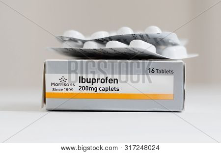 London / Uk - July 8th 2019 - Packet Of Ibuprofen Painkillers, Closeup With Blister Packs Of Tablets