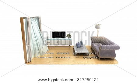 Concept Of A Home Loan Or Repair Room On Credit Card 3d Render On White No Shadow