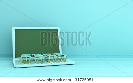 Concept Of Knowledge School Business Office Work And Electronic Media Laptop Or Notebook  3d Render
