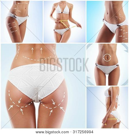 Healthy, Sporty And Beautiful Women Isolated On White. Fat Lose, Health, Sport, Fitness, Nutrition,