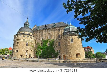 Scenic View Of Orebro Old Castle In Summer Day