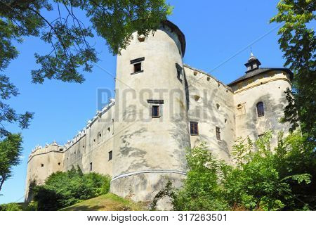Walls of old defence castle Niedzica in Poland