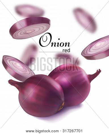 Red Onion And Sliced ​​onions. Vector Realistic Illustration. Design Leaflets For Cooking.