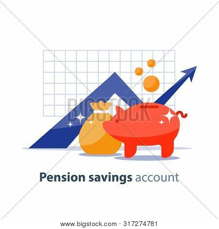 Future Income Growth Graph, Money Bag And Piggy Bank, Return On Investment Chart, Budget Planning, T
