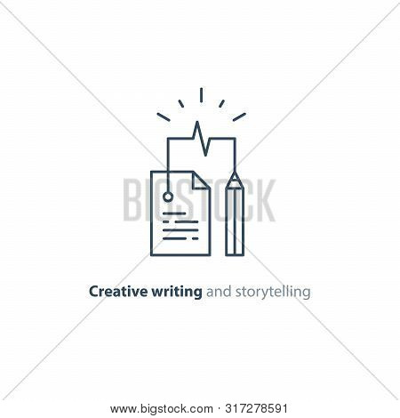 Creative Writing And Thinking Concept, Storytelling, Assay Composition, Education, Vector Mono Line