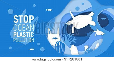 Concept Of Stop Ocean Plastic Pollution. Paper Cut Underwater Background With Plastic Rubbish, Turtl