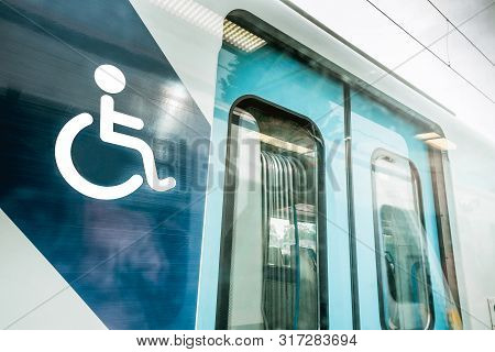 Special Express Train For Wheelchair Disable Person With Wheelchair Icon Sign On The Train. Train Fo