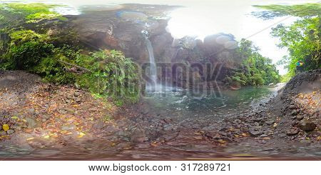 Beautiful Waterfall In Green Forest 360vr. Tropical Tuasan Falls In Mountain Jungle. Waterfall In Th