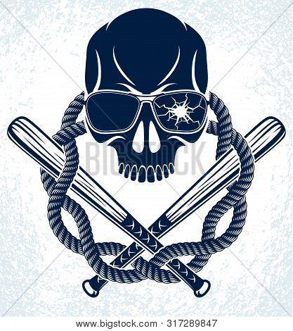 Brutal Gangster Emblem Or Logo With Aggressive Skull Baseball Bats Design Elements, Vector Anarchy C