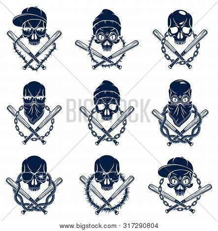 Gangster Emblem Logo Or Tattoo With Aggressive Skull Baseball Bats And Other Design Elements, Vector