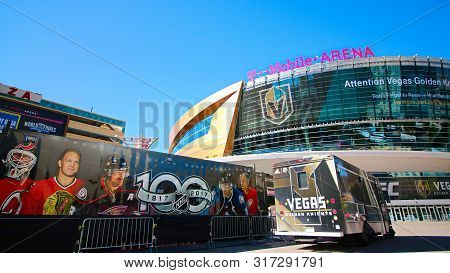 Las Vegas,nv/usa - Oct 29,2017 : Exterior View Of The T Mobile Arena In Las Vegas. It Is The Home Of