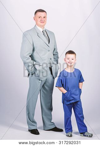 Family Business. Doctor Respectable Career. Dad Boss. Father And Cute Small Son. Child Care Developm