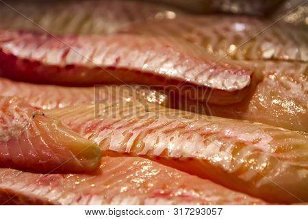 Rose Fish (sebastes Norvegicus) Meat On The Market
