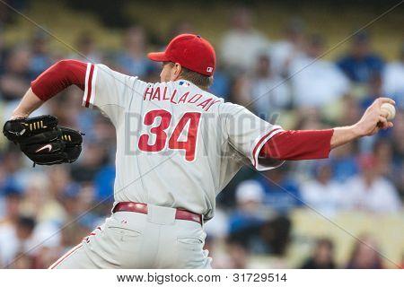 LOS ANGELES - 8 de agosto: Philadelphia Phillies P Roy Halladay #34 arremessos durante o jogo da MLB em ago 8 2