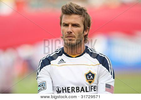 CARSON, CA. - 3 de outubro: Los Angeles Galaxy M David Beckham #23 antes o Chivas EUA vs Los Angeles Gal