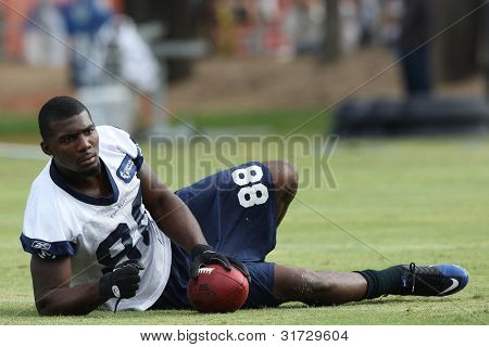 OXNARD, CA. - AUG 15: Dallas Cowboys WR (#88) Dez Bryant stretches with the team before the start of the second day of the 2010 Dallas Cowboys Training Camp on Aug 15 2010 in Oxnard, California.