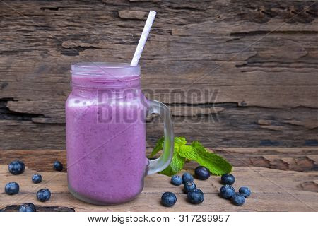 Blueberry Smoothies Purple Colorful Fruit Juice Milkshake Blend Beverage Healthy High Protein The Ta