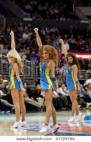 LOS ANGELES - MARCH 10: UCLA cheerleaders during the NCAA Pac-10 Tournament basketball game between the UCLA Bruins and the Oregon Ducks on March 10 2011 at Staples Center.