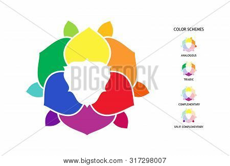 Color Wheel With Hue, Tint, Shades Variations. Color Combinations Schemes Poster