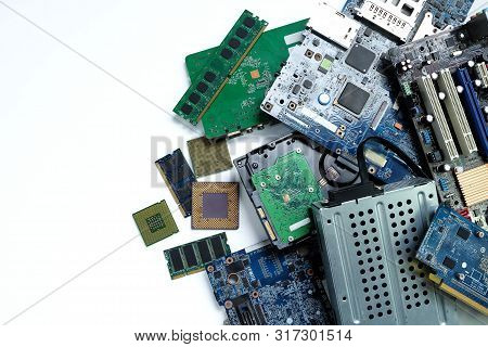 Pile Of Electronic Waste, Motherboard Computer And Cpu Microchips  Electronic Equipment, Printed Cir