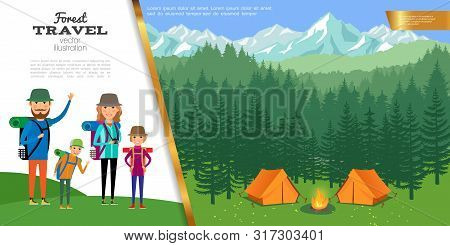Flat Forest Travel Concept With Father Mother Kids Go Hiking And Camp On Forest And Mountain Landsca