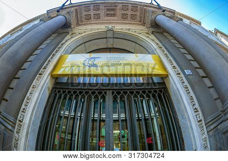 Milan, Italy - June 29, 2019: Entrance Of Chamber Of Commerce, Monzabrianza Lodi, Located Near Piazz