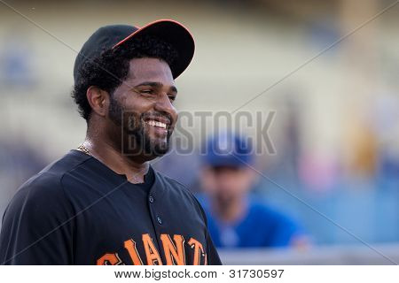 LOS ANGELES - MAY 19: San Francisco Giants 3B Pablo Sandoval #48 has a laugh before the MLB game on May 19 2011 at Dodger Stadium.