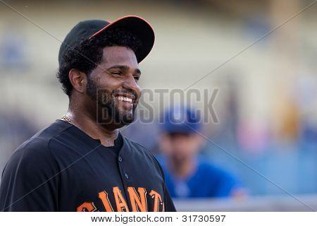 LOS ANGELES - 19 de maio: San Francisco Giants 3B em que Pablo Sandoval #48 tem uma risada antes do jogo da MLB