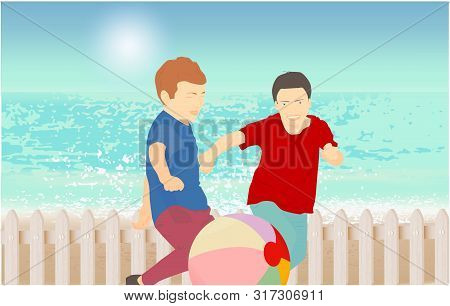 Children Playing With A Ball. Sandy Beach Under The Bright Sun