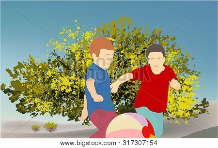 Children Playing With A Ball In The Park, On Nature