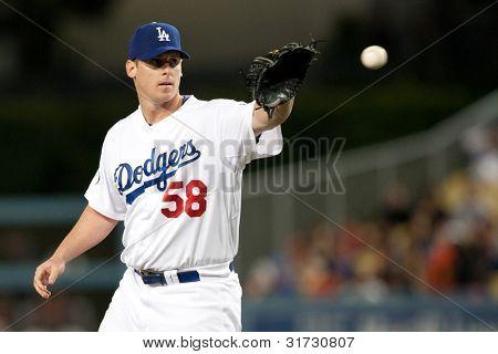 LOS ANGELES - 19 de maio: Los Angeles Dodgers P Chad Billingsley #58 durante o jogo da MLB em 19 de maio de 2011