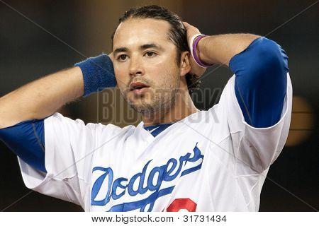 LOS ANGELES - 9 de abril: Los Angeles Dodgers RF Andre Ethier #16 durante o jogo MLB entre o Atlan