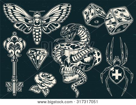 Vintage Monochrome Tattoos Collection With Beautiful Rose Butterfly Filigree Medieval Key Cross Spid