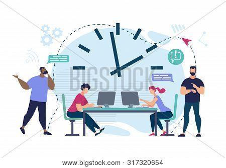Informational Flyer Meeting Deadlines Cartoon. Men Messaging Over Phone. Employees Work In Office Fo