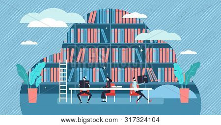 Study Vector Illustration. Flat Tiny Book Learning Process Persons Concept. Scene With Book Store, L