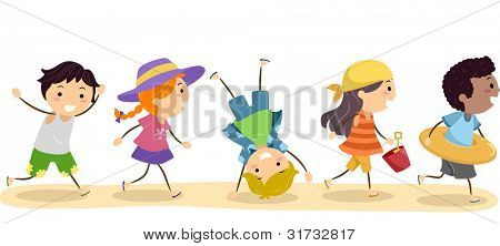 Illustration of Children going to the Beach poster
