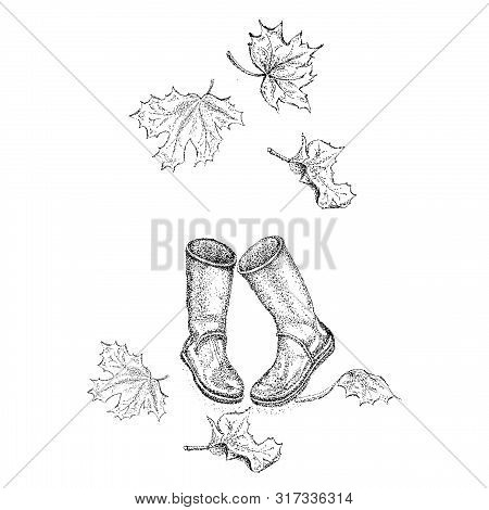 Drawing Rubber Boots And Leaves Of Maple Using Pointillism Technique.