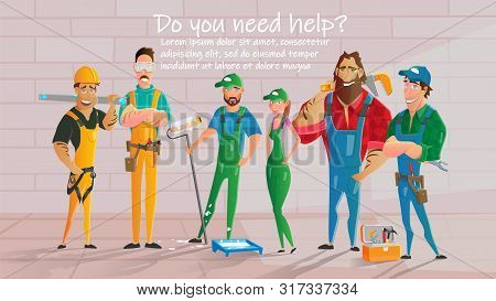 Home Repair, Construction Contractors, Plumbing Service Cartoon Vector Poster Template. Workers Char