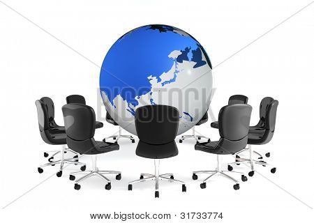 Business image. World map and chair