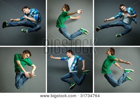 Collage of skilled guy jumping high in various poses