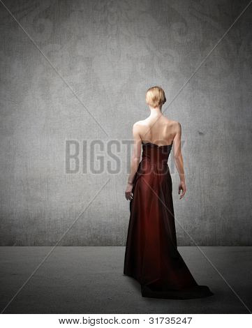 Rear view of a beautiful elegant woman