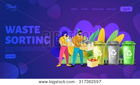 Man and woman holding boxes with plastic, metal and organic wastes. Waste sorting webpage template. poster