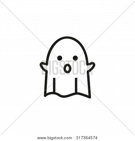 Bed Sheet Ghost Line Icon. Spirit, Phantom, Creature. Halloween Concept. Can Be Used For Topics Like