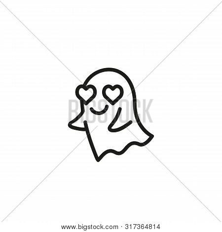 Ghost In Love Concept. Heart Eyes, Spirit, Poltergeist. Halloween Concept. Can Be Used For Topics Li