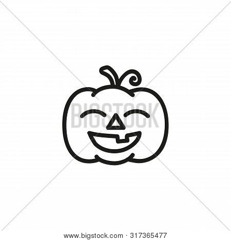 Smiling Pumpkin Line Icon. Carving, Decoration, Jack-o-lantern. Halloween Party Concept. Can Be Used