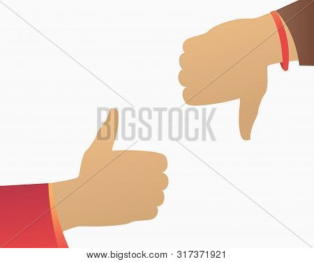 Like And Dislike Hand Gestures. Thumb Up, Thumb Down, Isolated On White. Feedback Concept. Vector Il